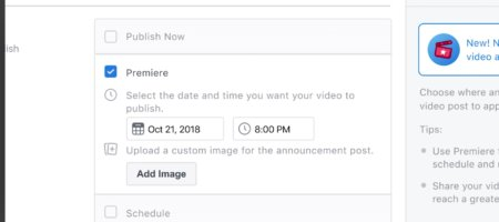 facebook-premieres-live-video-450x200 Facebook Live Now Allows Pre-Recorded Videos  - Clear Partnering Group - Orthodontic and Dental Marketing