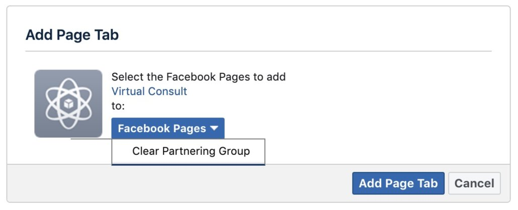 virtual-consult-add-tab-permissions-1030x418 How to Create a Custom Tab for Virtual Consult on your Facebook Business Page  - Clear Partnering Group - Orthodontic and Dental Marketing